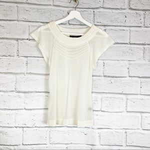 The Limited | White Sheer Scoop Neck Top